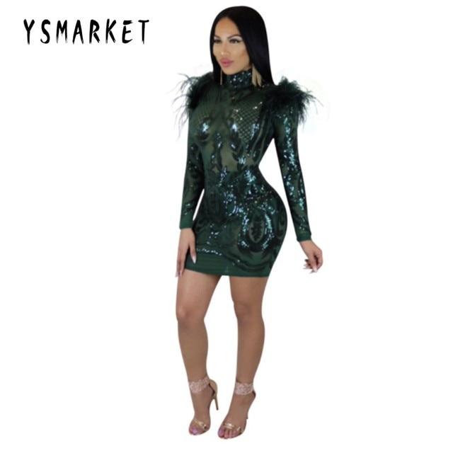 6a773e7fbad YSMARKET Hot sexy dress 2019 clubwear women clothes sequins swan hair dress  long sleeve mini dresses