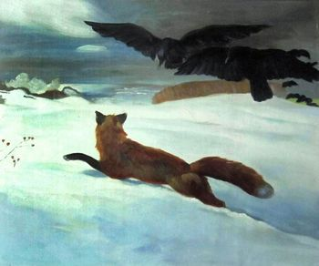 Decorative Art Animal Oil Painting Wall Canvas Painting The Fox Hunt by Winslow Homer Fine Arts High Quality No Frame