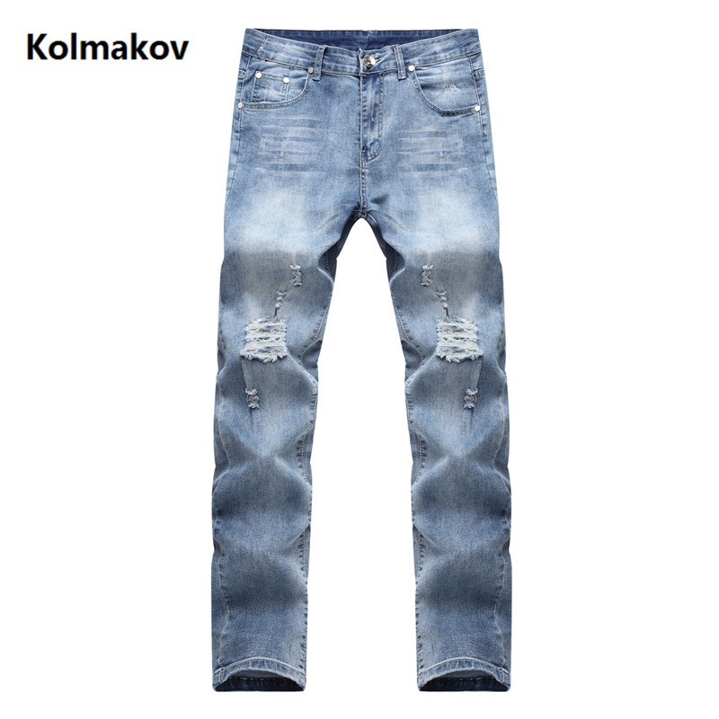 2019 Spring New ripped jeans for men Classic Fashion Designer Denim Skinny Jeans men's casual Slim Fit Trousers 3 colors