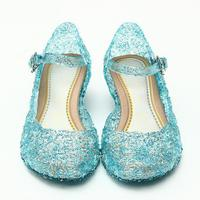 Ice Colors Girl Shoes Children Casual Shoes Girl Princess Shoes Hole Elsa Anna Blue Crystal Shoes
