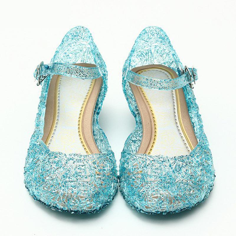 Ice Colors Girl Shoes Children Casual Kids Shoes Girl Princess Shoes Hole Elsa Anna Blue Crystal Shoes PVC Solid Toddler JM10