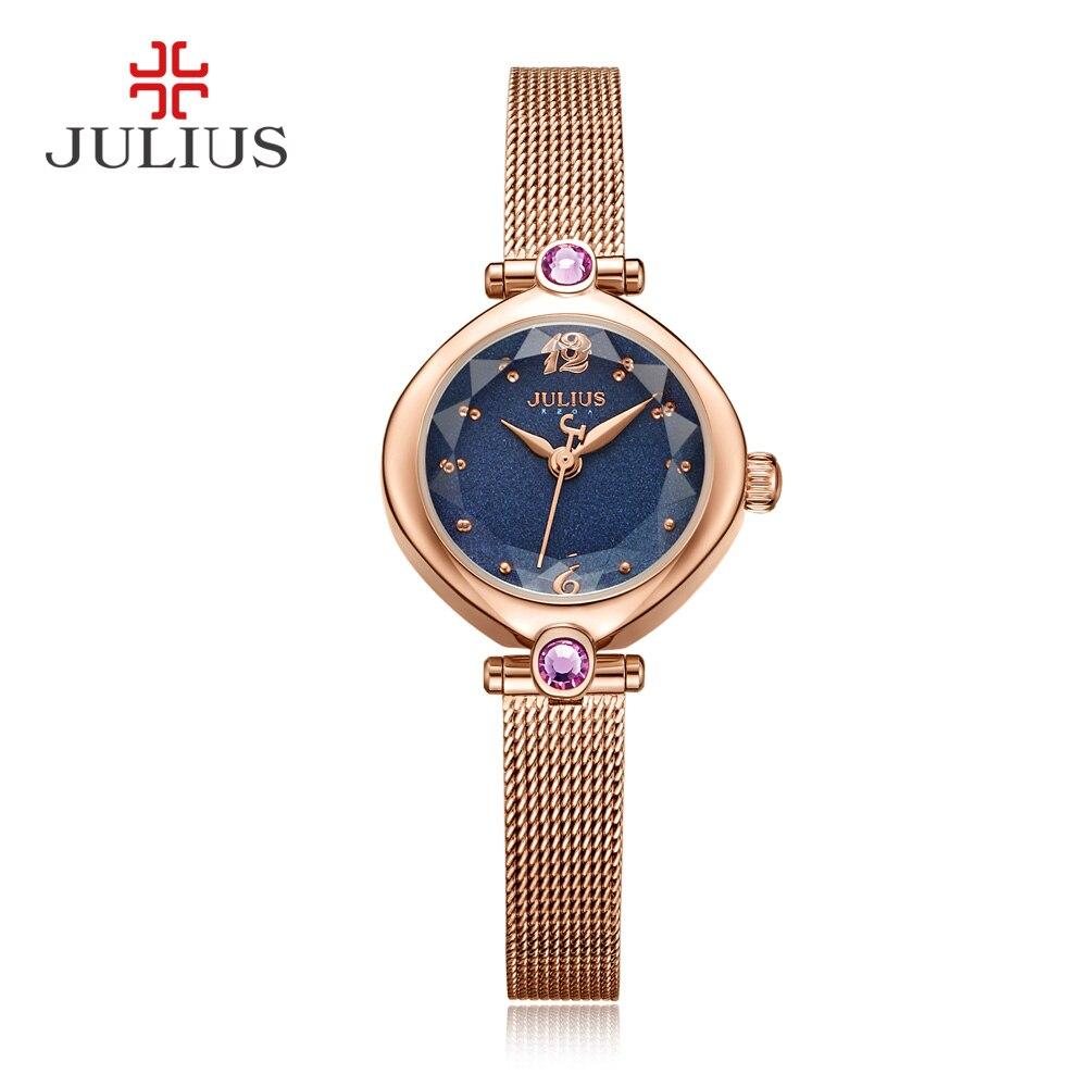 JULIUS 2017 Winter Blue Rose Gold Tone Mesh Stainless Steel Quartz Analog Pink Diamond Fashion Watch