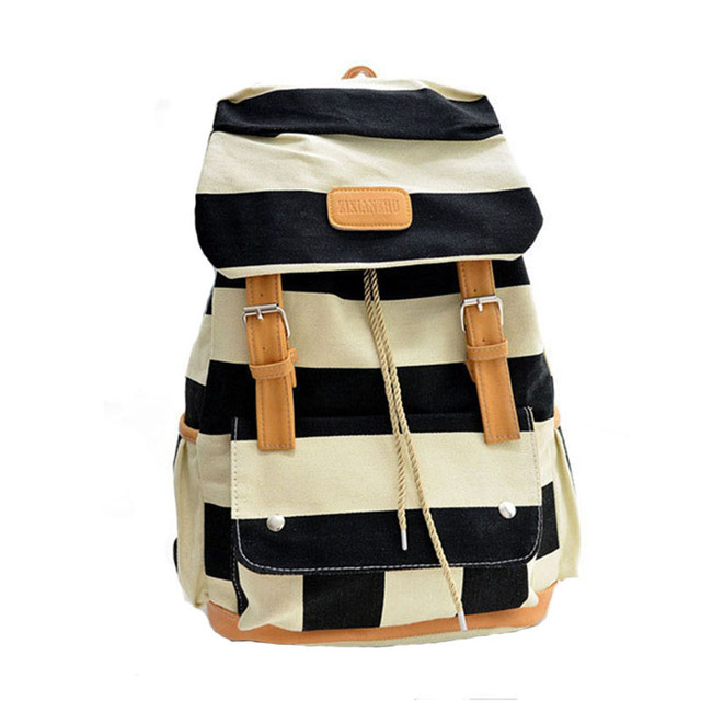 2016 Women Girl Striped Canvas Backpack Leisure Hot School Backpack For Teenagers Travel Rucksack Campus Leisure Bag