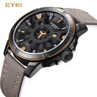 EYKI 2017 Роскошные мужские часы Cool двойные трехмерная циферблат наручные часы Гонки военные кварцевые часы Relógio masculino