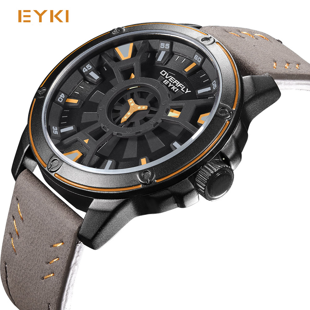 EYKI 2017 Luxury Men Watch Cool Double Three-dimensional Dial Wristwatch Racing Sport Military Quartz Watches Relogio Masculino men quartz watches new fashion sport oulm japan double movement square dial compass function military cool stylish watch relojio