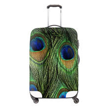 Animal Fur 3D Print Travel Luggage Protective Cover Peacock Elastic Waterproof Trolley Luggage Set Apply For 18-30inch Suitcase