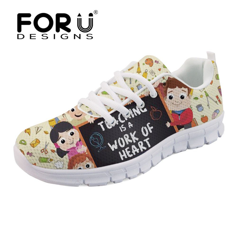 FORUDESIGNS Fashion Teaching is A Work of Heart Print Casual Women's Sneakers Shoes Woman Flats Ladies Shoes Comfortable Light