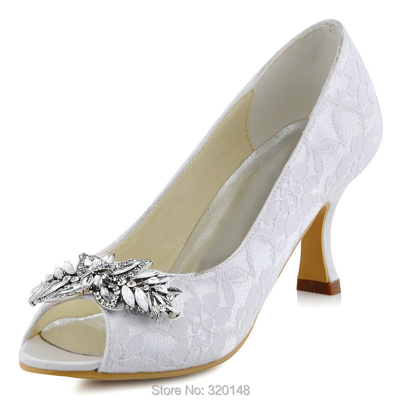 4057864b4cbc Woman Shoes Wedding White Ivory Mid Heel Comfort Peep Toe Rhinestone Lace  Lady Bride Bridesmaid Bridal Prom Evening Pumps HP1538-in Women s Pumps  from Shoes ...