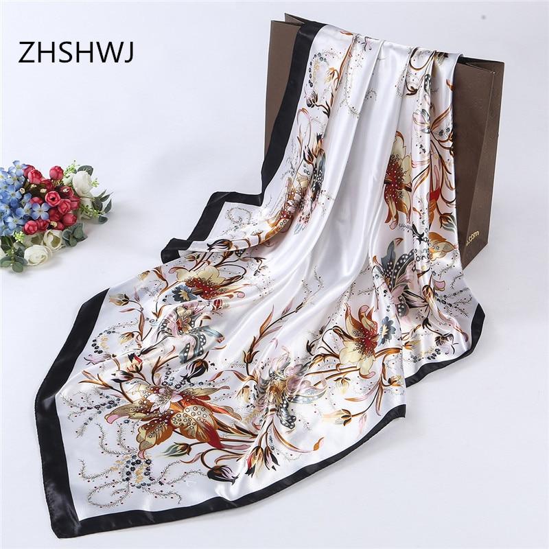 Zhshwj] شحن مجاني 90 * 90 سنتيمتر أزياء المرأة والأوشحة باندانا مكافحة الحرير الحجاب المرأة الديكور شال رائع الحرير وشاح
