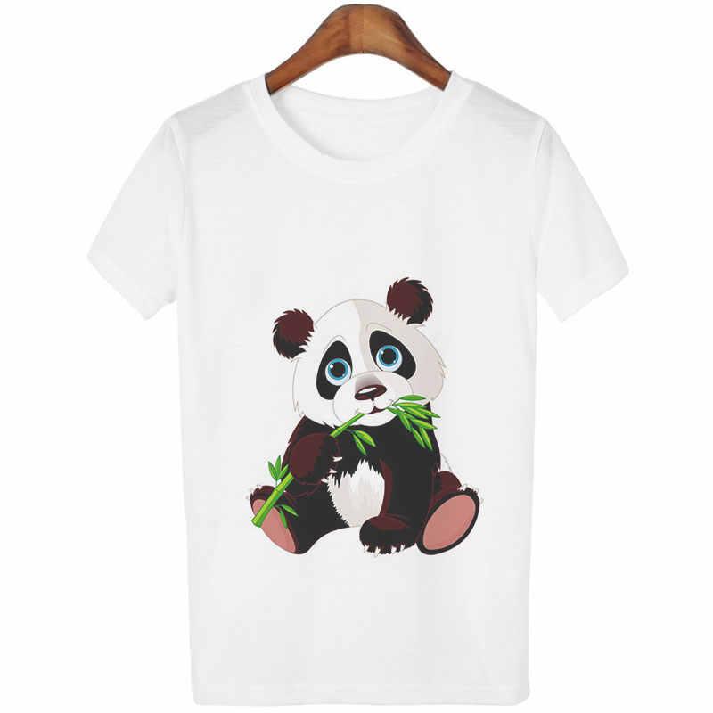Забавные повседневные футболки Harajuku Kawaii Panda женская одежда 2019 модная футболка с принтом животных Femme топы с короткими рукавами