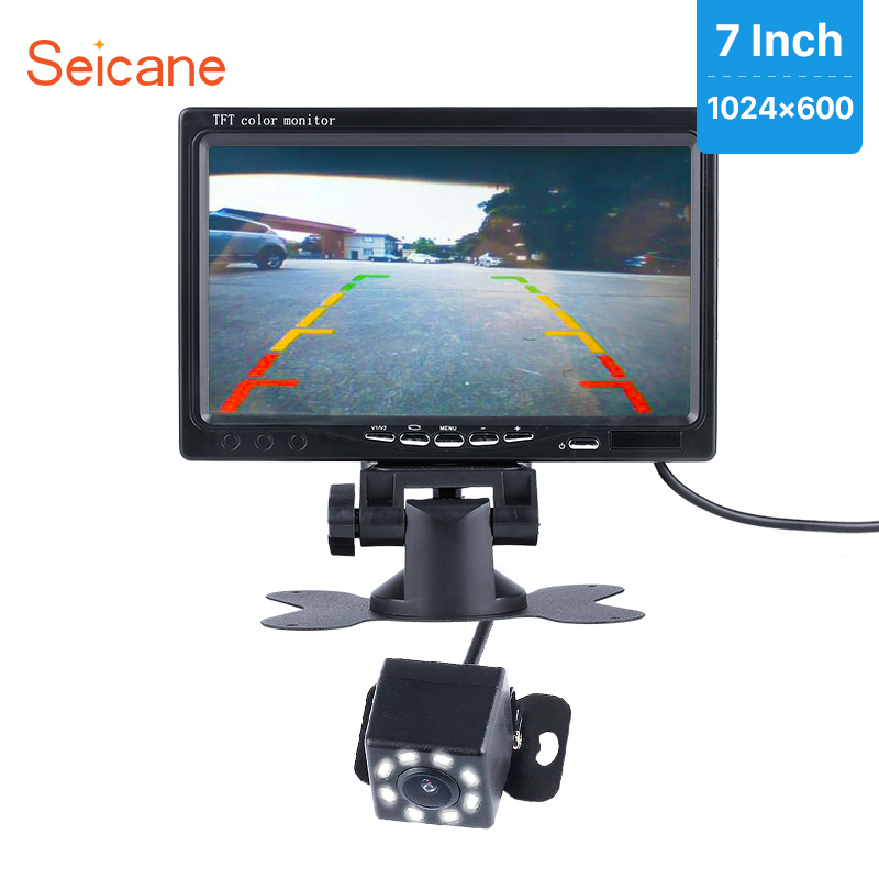 Seicane 7 Car Monitor 1024*600 DVR LCD Display Parking Digital Video Recoder with 8 LED Night Vision Rearview Camera CCD free
