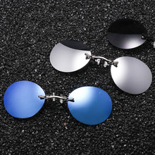 Fashion Clip On Nose Sunglasses Men Vintage Mini Round Sun Glasses Hacker Empire Matrix Morpheus Rimless UV400