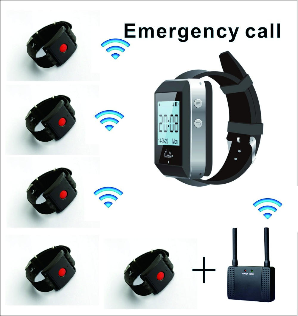 wireless calling system  1 watch wrist receiver + 5 watch wrist call +wireless repeater for waiter call/ nurse emergency call wireless service call bell system popular in restaurant ce passed 433 92mhz full equipment watch pager 1 watch 7 call button