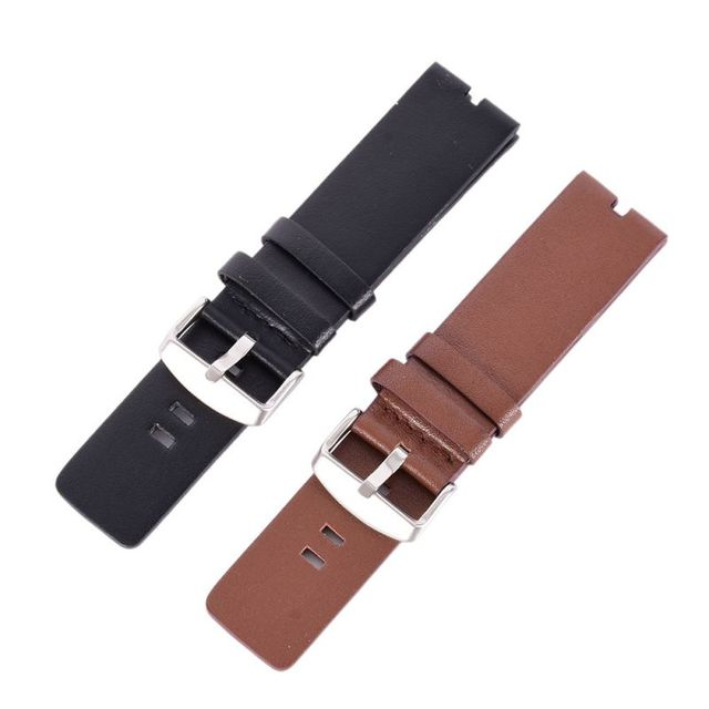 22mm Replacement Brown / Black Strap Smooth Leather Watch Band Strap For Motorol