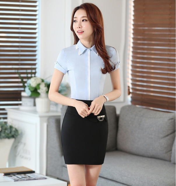 50a148bc70eb Ladies Summer Professional Work Suits Tops And Skirt OL Styles Female  Outfits Blouses With Skirt Sets