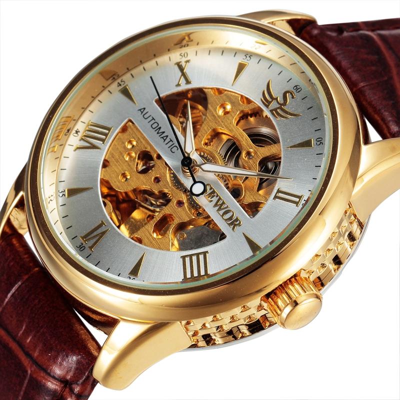 Prix pour Sewor squelette mécanique montre en or hommes bracelet en cuir marque horloge marque de luxe automatique 2016 mode relogio montre-bracelet swq22