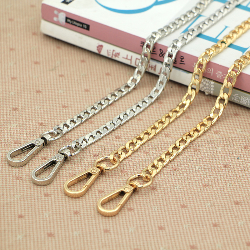 Light Gold Metal Purse Chain Womens Handbag Handles Shoulder Straps Chain DIY Flat Chain Bags JD32#