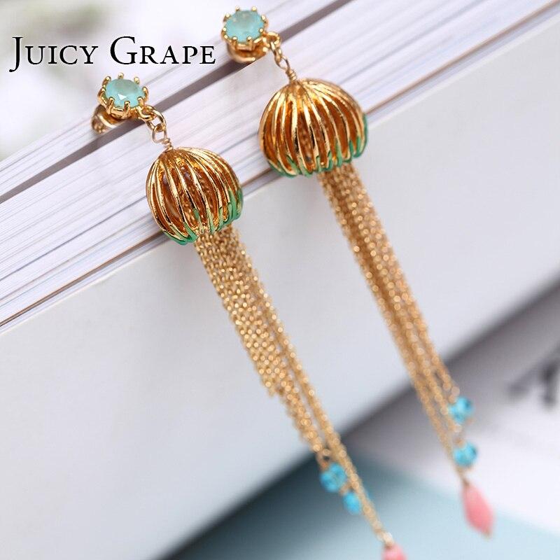 Gold Color lantern Tassel Stud Earrings for Women 925 Silver Needle jewelry enamel glaze precious Jewerly starry pattern gold plated alloy rhinestone stud earrings for women pink pair