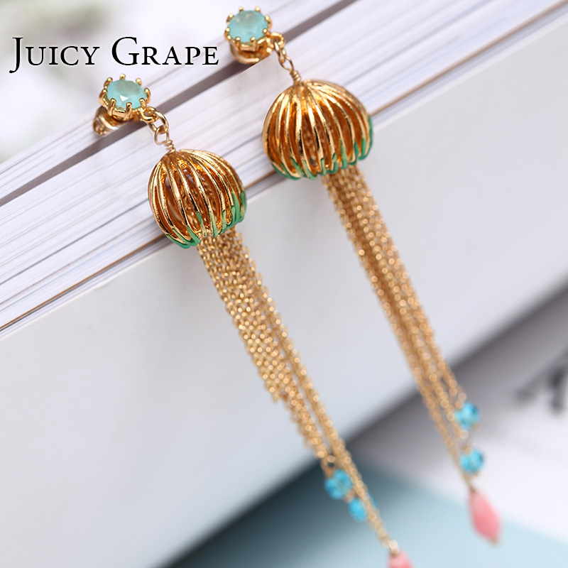 Gold Color lantern Tassel Stud Earrings for Women 925 Silver Needle jewelry enamel glaze precious Jewerly