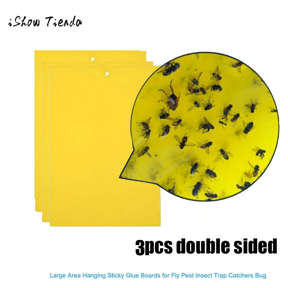 3Pcs Strong Flies Traps Bugs Sticky Board Catching Aphid Insects Pest Killer Pest Control Whitefly Thrip Leafminer Glue Stickers otomatik çadır