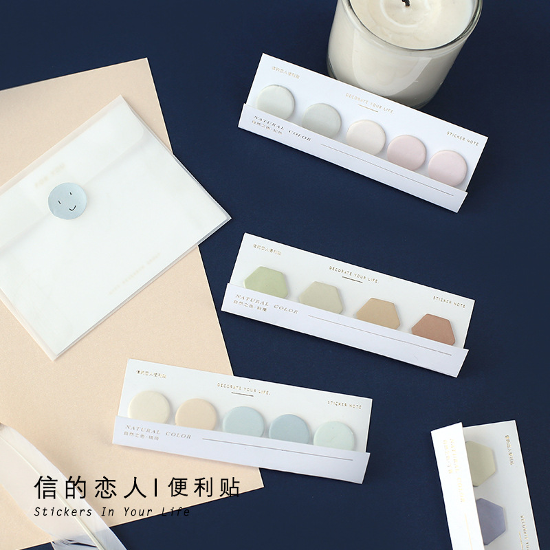 20 Pages/ Pack Natural Color Circle Hexagon Memo Sticky Note Memo Pad School Office Supply Notepad Student Stationery