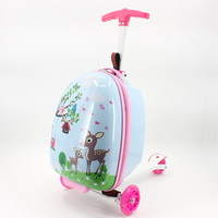 Kid scooter suitcase storage trolley luggage skateboard for children carry on rolling luggage school bag trolley case With wheel