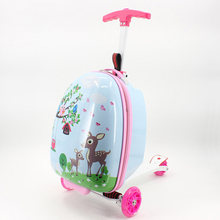 Kid scooter suitcase storage trolley luggage skateboard for children carry-on rolling luggage school bag trolley case With wheel(China)