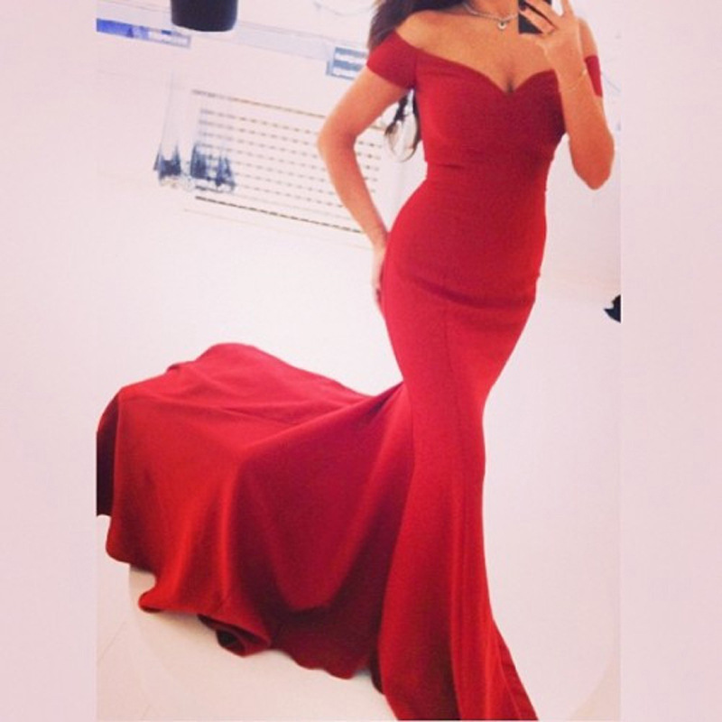 2017 Elegant Womens V-Neck Shoulderless Red Party Dresses Ladies Trumpet Mermaid Evening Dress Milkfiber Maternity Clothing Sale вечернее платье mermaid dress vestido noiva 2015 w006 elie saab evening dress