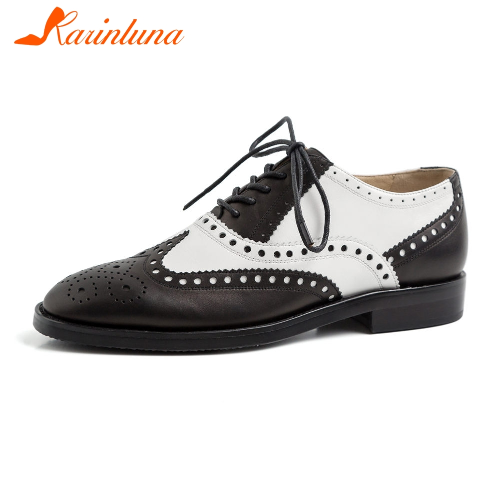 KARINLUNA marque de luxe en cuir véritable rétro dame richelieu chaussures femme appartements femme Vintage Style britannique femmes chaussures