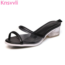 3db89376cd1 Knsvvli 2019 New PVC Clear Crystal Low Heels Slippers Woman Peep Toe Candy  Color Summer Beach