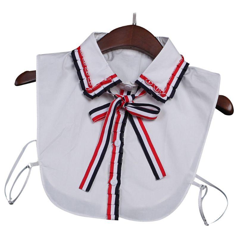 New Fashion Women Lace Bow Detachable Lapel Choker Necklace Shirt Fake False Collar Cotton Material Soft Neck Wear