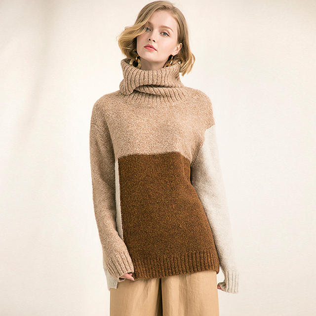 Sweater Women Mohair Wool Blending Knitted Patchwork Design Turtleneck Long Sleeve Loose Pullovers Winter 2018 New Fashion Style