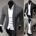 Envío gratis 2014 nueva moda casual delgado hombres suéter cardigan de color sólido
