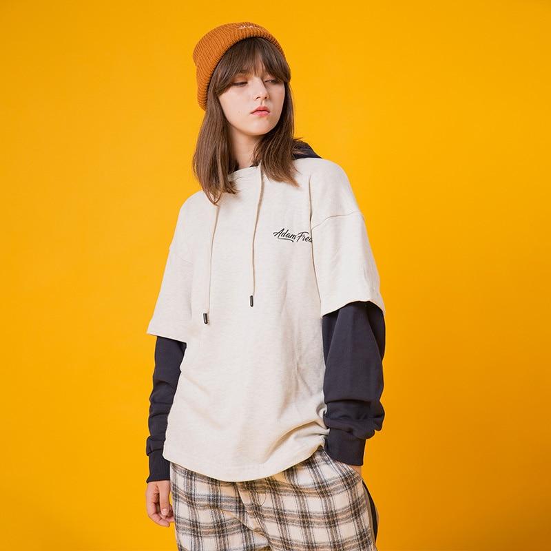 Japanese Harajuku Fake Two Piece Streetwear Hoodie for Women Urban Girl Hip Hop Graphic Hooded Sweatshirt
