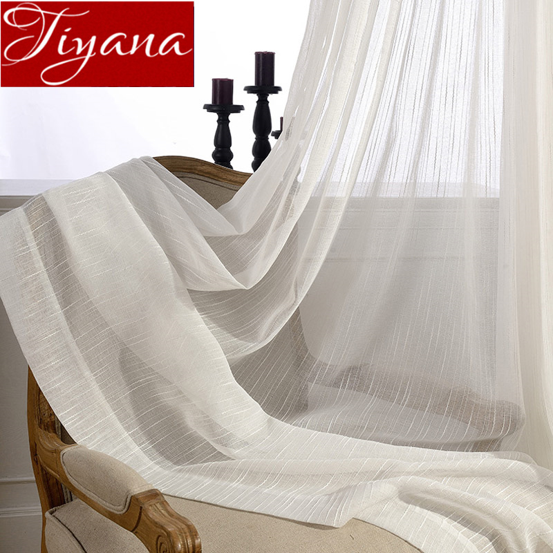 Huayin Velvet Linen Curtains Tulle Window Curtain For: Aliexpress.com : Buy Striped White Curtains For Window