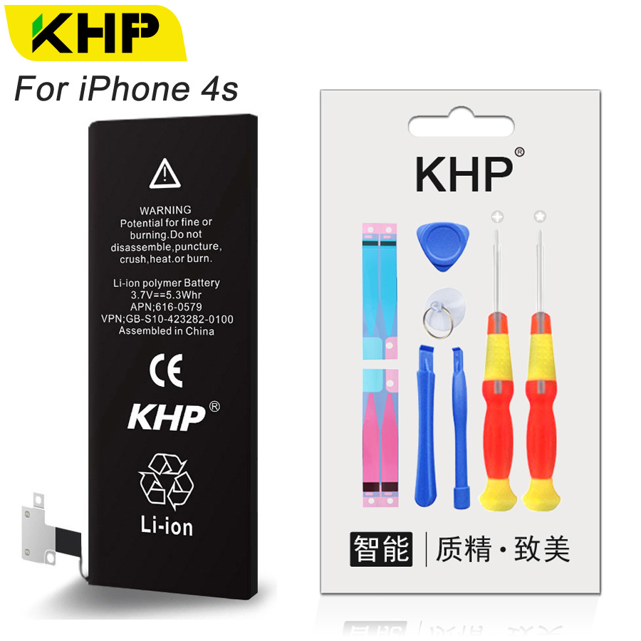 KHP 2017 New Original Replacement Phone Battery For iPhone 4s Real Capacity 1430mAh 0 Cycle Repair Tool Kit Batteries Sticker