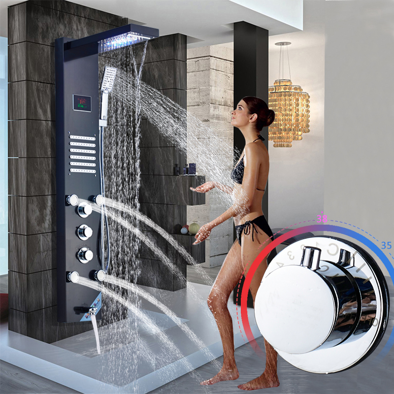 Brushed Nickel Stainless Steel 5 function Waterfall Rain Shower Panel with Massage System Tub Spout and