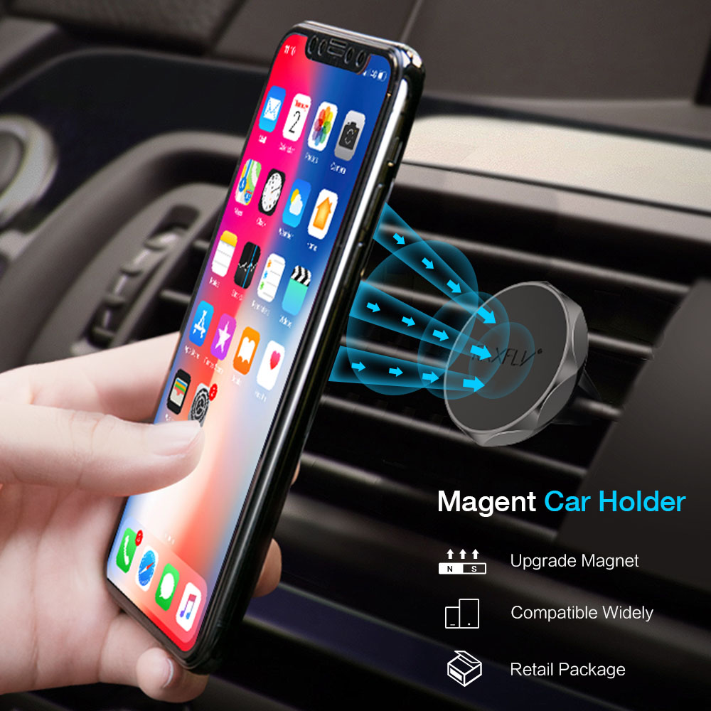 RAXFLY Car Holder For Samsung S8 S9 Magnetic Air Vent Mount Car Phone Holder For iPhone X 7 6 6S Phone Stand For Xiaomi Huawei