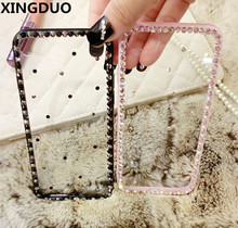 XINGDUO Luxury Bling Diamond Clear Case For iphone X 7 8 PLUS Rubber Girly Luxury TPU Cover For iphone 6 6S PLUS 5S SE XR Xs Max туника luxury plus luxury plus mp002xw1c7x1