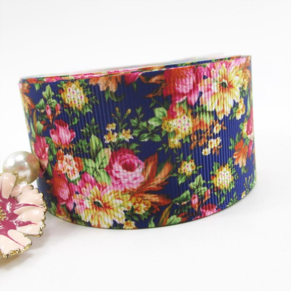 1.5 «38 мм Цветы серии Высокое качество печатных полиэстер лента 10 ярдов, DIY материалы ручной работы, свадебная подарочная упаковка, 10Y50921