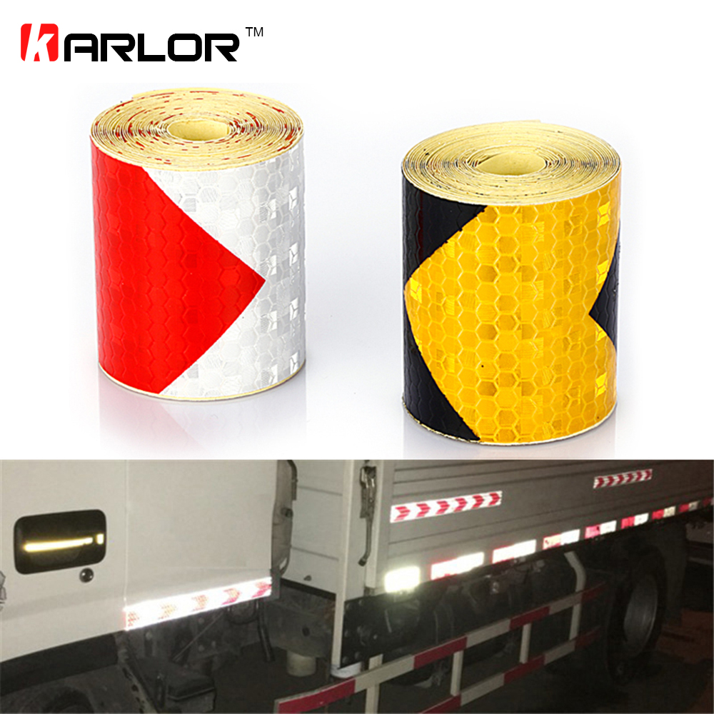 5cmx300cm Arrow Reflective Tape Safety Caution Warning Reflective Adhesive Tape Sticker For Truck Motorcycle Bicycle Car Styling