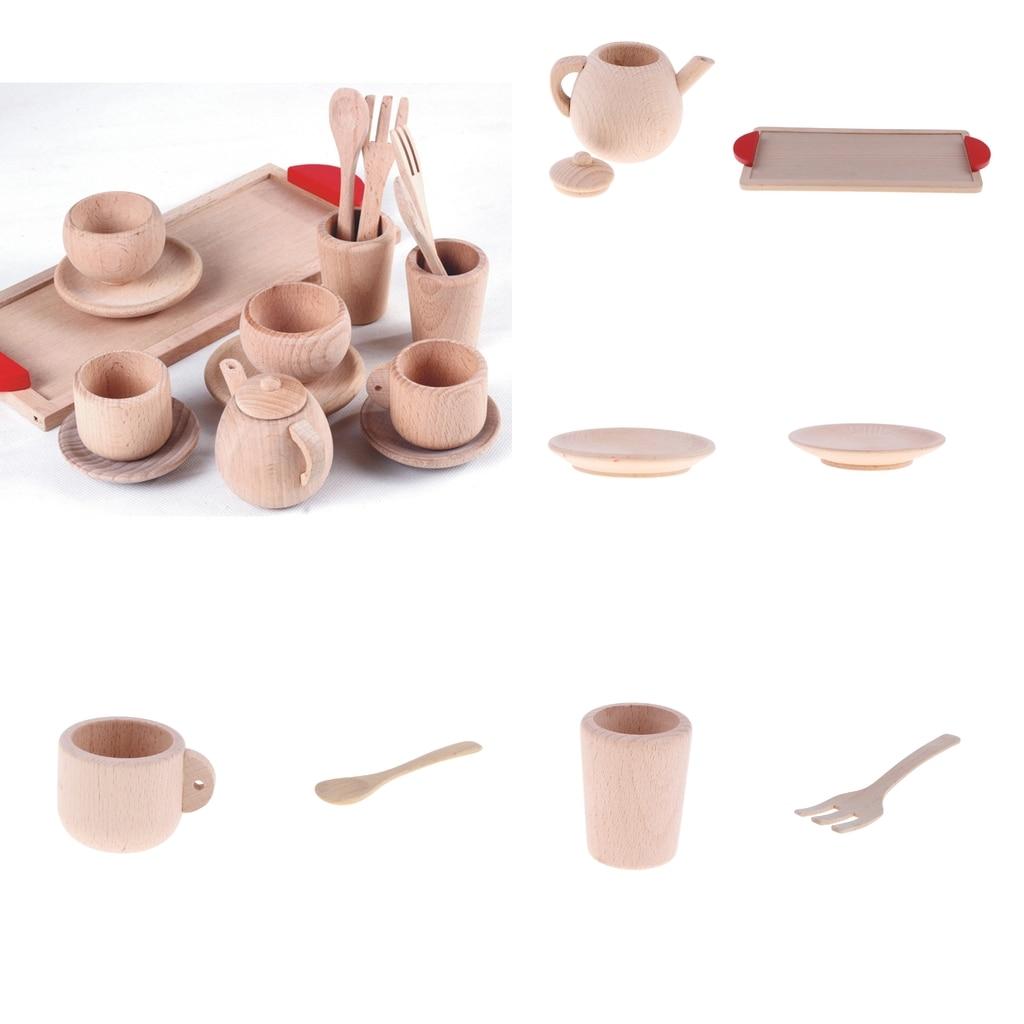Wooden Kitchen Accessories Toys: Wooden Tea Set Tea Pot Tea Cup Teatime Play Toy Kitchen