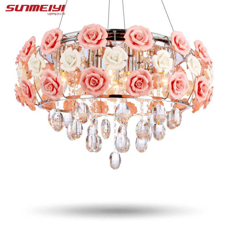 2019 Новое поступление светодиодный Кристалл Потолочные светильники люстры de sala красивая Роза Стиль для Спальня Обеденная Бесплатная доставка