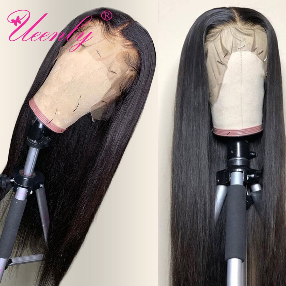 13x4 Lace Front Human Hair Wigs Pre Plucked For Black Women Remy Brazilian Straight Lace Front Wig With Baby Hair Bleached Knots