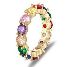 Anneau arc-en-ciel délicat coloré Multi couleur CZ éternité ronde bague en or pour femmes bijoux de fête de mariage meilleur cadeau d'anniversaire