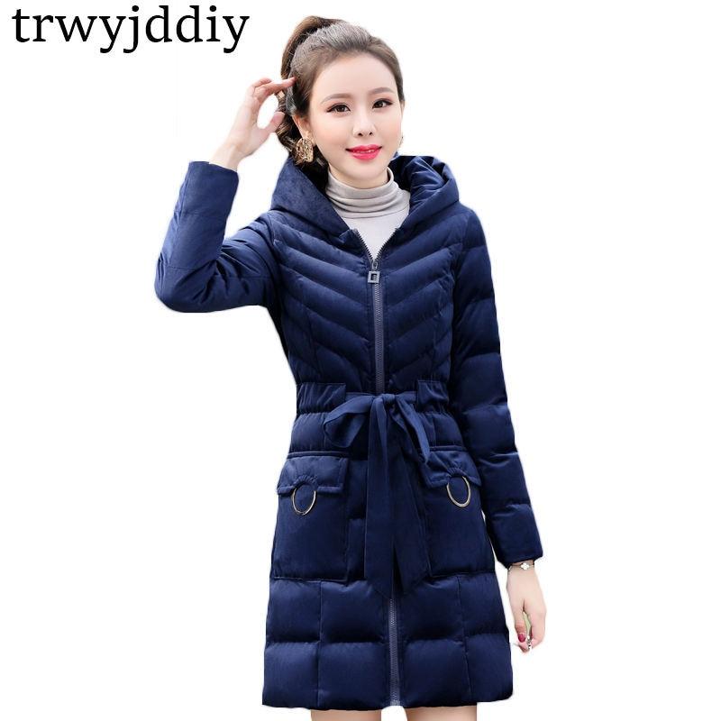 2018 Snow Wear grande taille manteau mode or velours chaud ceinture serré à capuche vestes hiver femmes coton vêtements doudoune A961