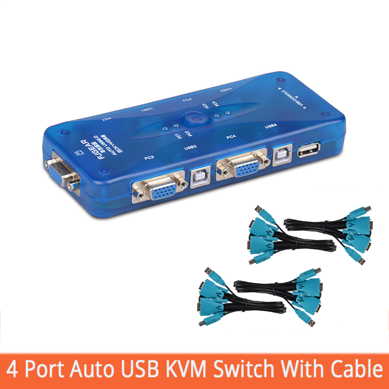 USB2.0 KVM Switch Auto 4 Port USB Hub Switch With Connector Cable 4 Computers Share A Mouse And Keyboard Monitor FJ-104UK-T