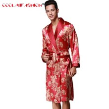 Men Sexy Bathrobe Brand Robes Faux Silk Men's Sleepwear Spring Summer Style Long Sleeved Home luxurious Clothing Print Robe Male(China)