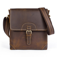 Men's Leather Shoulder Bag Vintage Real Leather Cross Body Messenger Bag Daily Sling Bag