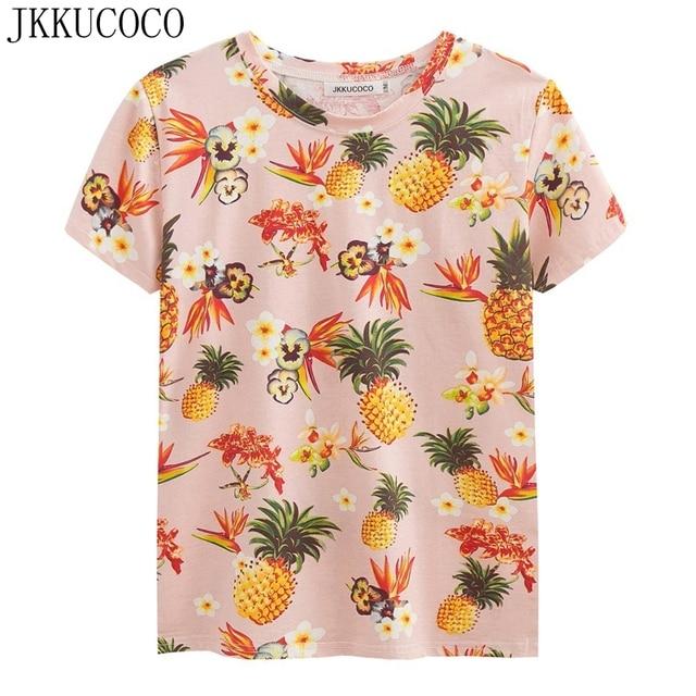 4921dc62edb02 JKKUCOCO Newest Top Hot Tees Flowers Pineapple t shirt Women t shirt Cotton  Shirt Women Tops Short Sleeve Casual T shirt 2 Color-in T-Shirts from ...